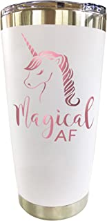 Unicorn Tumbler - Travel Coffee Mug with Lid 20oz - Funny Gifts for Women, Unicorn Lovers, Adults Cute Mugs by Tough Tumblers