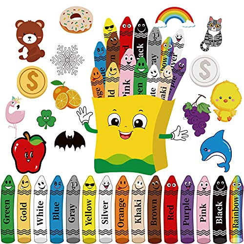 31 Pieces Colorful Crayons Cutouts Bulletin Board Set Color Poster Pencils Fruit Animal Cutout Stickers Bulletin Board Accent for Educational Preschool Learning Classroom Decor
