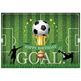 Allenjoy 7x5ft Soccer Birthday Party Backdrop Football Field Score Goal Sports Theme Boys Photography Background Cake Table Decorations Photoshoot Photo Booth Props