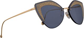 Fendi FF0355/S Sunglasses Transparent Teal Tea w/Blue Avio Lens 66mm ZI9KU FF0355S FF 0355/S
