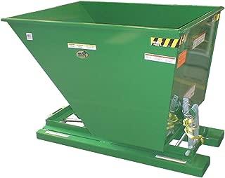 Vestil D-150-LD-GRN-T Self-Dump Hopper LD, 1.5 cu. yd, 2000 lb. Capacity, Overall L x W x H (in.) 68-5/16