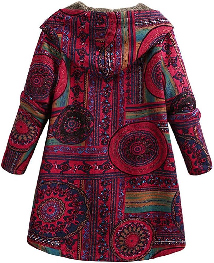 Romacci Damen Winter Plus Size Mantel Flauschigen Kunstpelz Geometrie Print Button Mit Kapuze Hals Langarm Taschen Baumwolle Outwear Mantel Blau/Rot Red