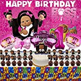 Boss Baby Girl 1st Birthday Decorations Backdrop African American Black Party Supplies Favors Banner Balloons
