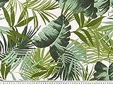 Zanderino ab 1m: Dekostoff, Blätter, weiß-grün, 140cm
