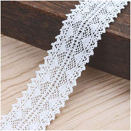 VU100 Cotton Lace Ribbon Vintage by The Yard, White Sewing Lace Fabric Trim Washable,for Wedding Decoration Gift Wrap Ribbon DIY Craft(1 Pack 10 Yards 1 Inches)
