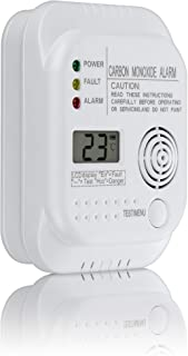 SEBSON Detector monoxido de Carbono, EN 50291, Alimentado por baterías, CO Alarma, Detector de Gas con Pantalla e indicador de Temperatura