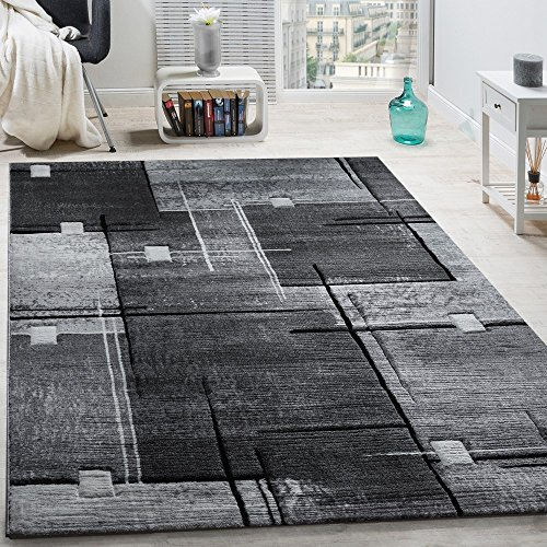 Paco Home Tapis Chic Noble Moderne à Contour Abstrait Gris Noir Moucheté, Dimension:120x170 cm