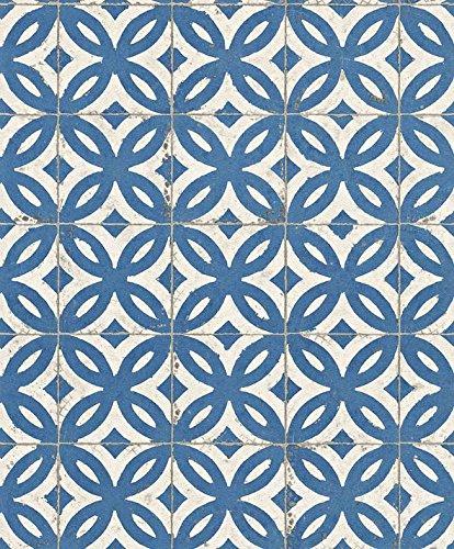 Tapete Delfter, Fliesen, Kacheln, retro, vintage weiß-blau, 53cm x 10,05m, Vliestapete, hoch waschbeständig Lichtechtheit: gut