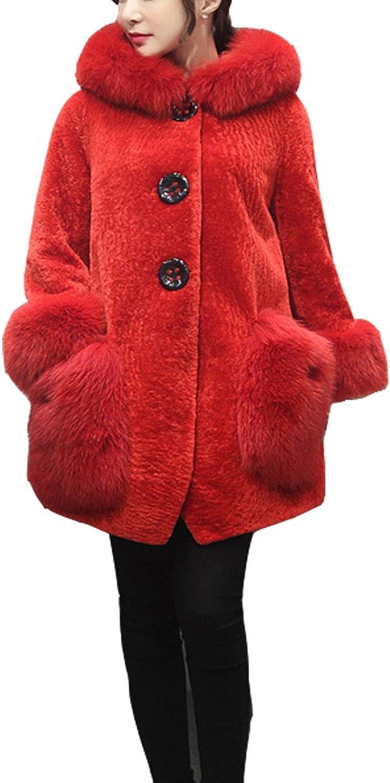 Perfectii Ladies Faux Fur Coat Fur Coat Warm Winter Long Jacket Parka Outerwear