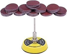 AUTOTOOLHOME 100 Pack 2 inch Sanding Discs Kit with Polishing Pads Plate 40 60 80 100 120 150 180 240 320 400 Grit Sandpapers for Drill Grinder Rotary Tool