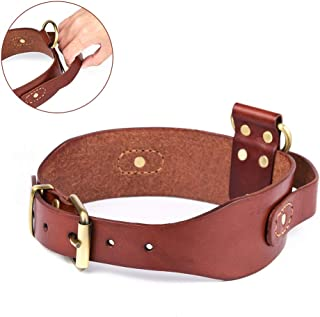 Peshouco Real Genuine Leather Dog Collar with D-Handle Heavy Duty Full Grain Dog Collar with Handle Durable and Adjustable for Medium Large Dogs Walking and Training 17-22 inch Neck Halloween Crafts