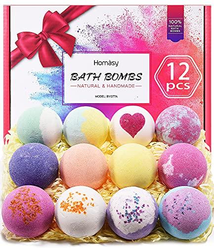 12 Piezas Bombas de Baño, Homasy Set de bolas de baño de con Aceites Esenciales Naturales, Manteca de Karité, Sal Marina, Efervescentes de Burbujas SPA, cumpleaños, festival, Niños, Mujeres, Mamá