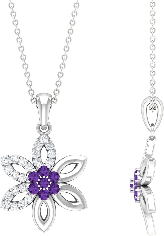 Cheap sale Flower Pendant Necklace Diamond Accent Cluster Louisville-Jefferson County Mall Neckla