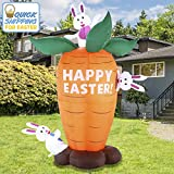 Joiedomi Easter Inflatable Decoration 6 FT Inflatable Easter Carrot & Bunny Inflatable with Build-in LEDs Blow Up for Easter, Party Indoor, Outdoor, Yard, Garden, Lawn Décor.