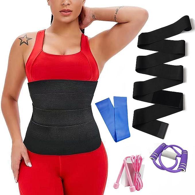Invisible Wrap Waist Trainer Band for Women, Waist Trimmer, Waist Wraps for Stomach, Belt Slimming Body Shaper, Thin Waist Wrap Bandage Belt for Women (4m) Black
