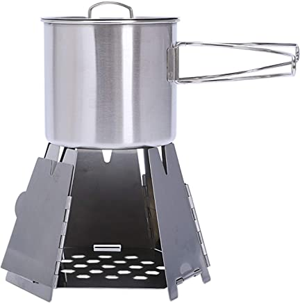 SODIAL Outdoor Camping Stove Kit Mini Folding Hexagon Wood Stove +Coffee Cup Stainlesss Steel Portable Furnace Cooking Bbq Picnic Burners