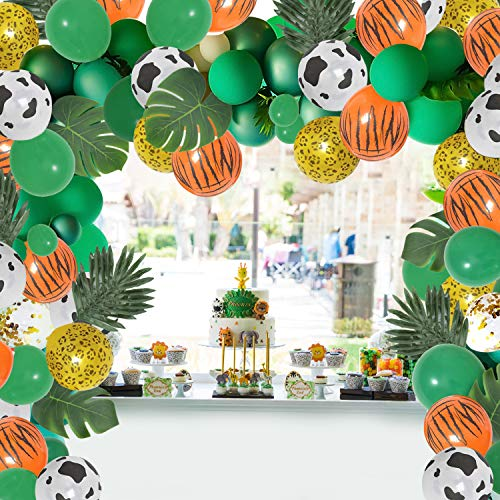 Osugin 122 Pieces Jungle Safari Party Decorations, Jungle Balloons Garland Arch Kit, with Animal Balloons and Palm Leaves, for Baby Shower Kids Birthday Tropical Party Decorations