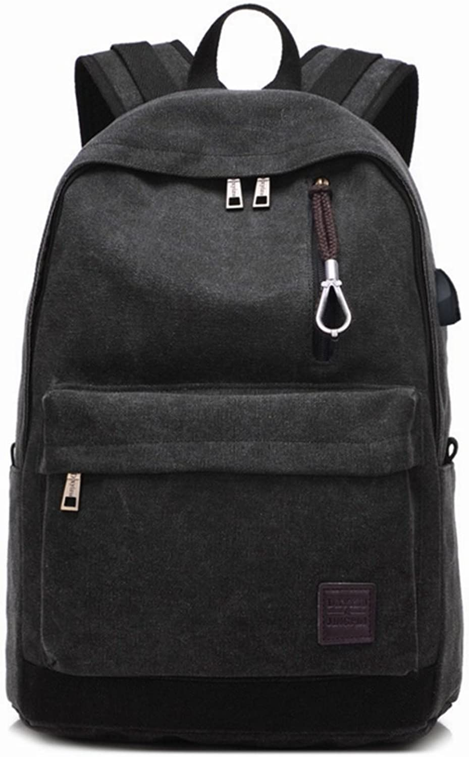 RABILTY Student USB Charging Canvas Backpack Work Sports Travel Backpack (color   Black)