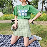 Minifalda patinadora mujer Una falda corta plisada Una línea Falda mujer Minifalda a cuadros debajo los pantalones cortos Minifalda a cuadros Minifaldas Strench Falda club cintura alta Verano-XL