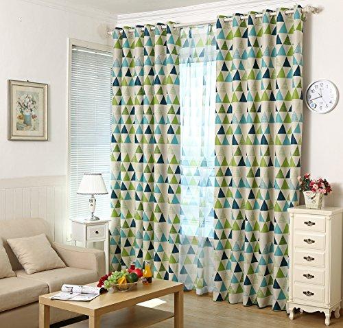 2er-Set Geometrisches Dreieck Raum Verdunkelungsvorhänge für Jungen Mädchen Kinderzimmer (245*140, Grün)