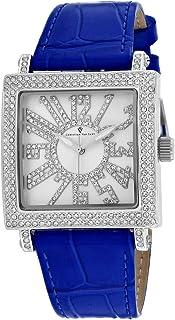 Christian Van Sant Women's Lumina Stainless Steel Quartz Leather Strap, Blue, 20 Casual Watch (Model: CV0241)