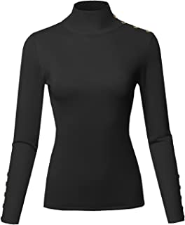 Women's Casual Solid Long Sleeve Button Detail Turtleneck Sweater