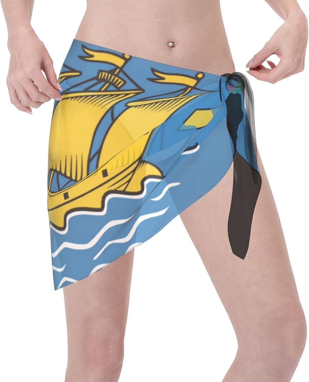 Women Short Sarongs Beach Wrap Sheer Pierre and Miquelon Flag Bikini Chiffon Cover Ups for Swimwear Black