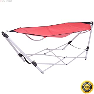 COLIBROX--Red Portable Folding Hammock Lounge Camping Bed Steel Frame Stand W/Carry Bag,Swing Loveseat Hammock,swing chair outdoor,hammock swing chair,lowes porch swing,portable folding hammock