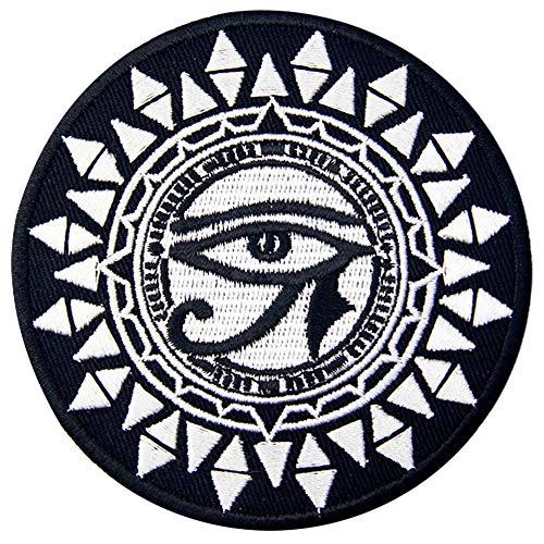 Ojo de horus y sol Parche Bordado de Aplicación con Plancha