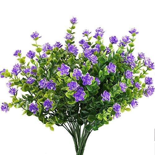 MIHOUNION 4 Bündel Kleine Lila Künstliche Blumen Kunststoff Grüne Künstliche Pflanze/Sträucher Eukalyptus Zweig Artificial Greenery für Garten Büro Hause Fenster Hof Hochzeit Freien Innen Deko