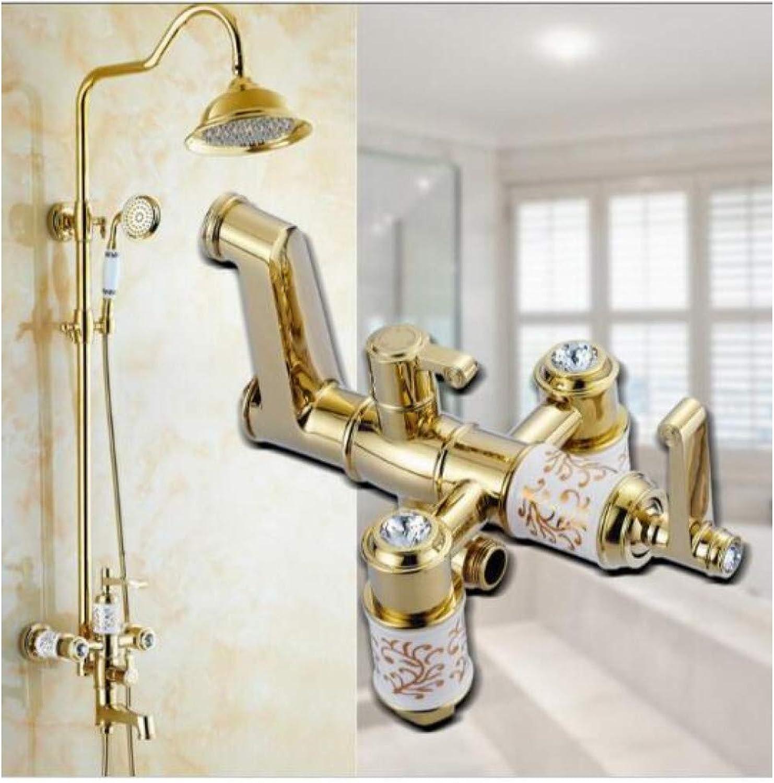 DFRQJHQGH Bad & Dusche Wasserhahn Gold Duschkopf Wasserhahn Badewanne Wasserhahn Set Wandmontage Badezimmer Regendusche Wasserhahn Set