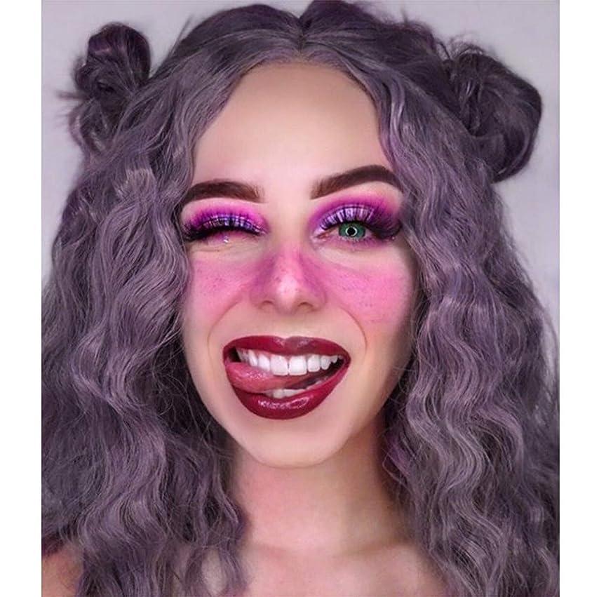 けん引消化傾いた女性フロントレースかつら耐熱合成実体波髪かつらナチュラルブラジルのかつら紫色14インチ