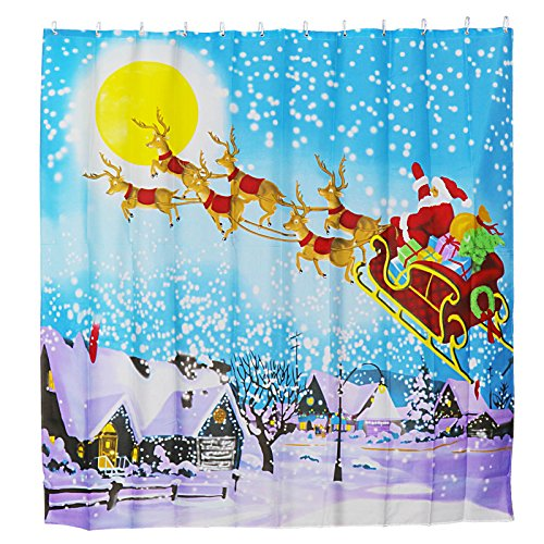 Weihnachten Duschvorhang Wannenvorhang Badewannenvorhang 180x180cm+12Haken Ringe