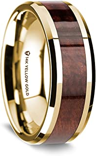 | Gold Rings for Men | 14K Yellow Gold Polished Beveled Edges Wedding Ring with Redwood Inlay - 8 mm