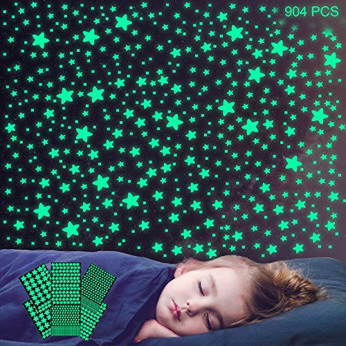 904Pcs Glow in The Dark Stars Wall Stickers, Realistic Glowing Stars for...