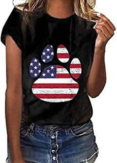 SSYUNO Womens Summer T-Shirt Casual American Flag Print Stripe Patriotic Tops Shirts Independence Day 4th July