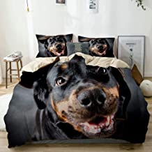 BGNHG Decorative Duvet Cover Sets Bed Sheets,Beige,Female of a Dog of Breed a Rottweiler in a Cap,3 Piece Bedding Set with 2 Pillow Cases Twin Size
