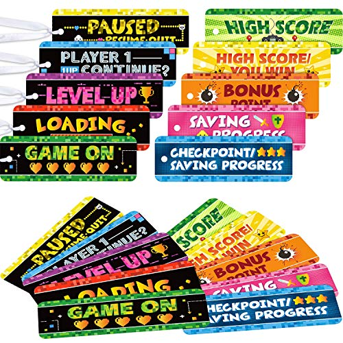 50 Video Game Bookmarks for Gamer Birthday Party, Pixelated Bookmarks for Pixelated Treat Bag Video Game Party Decoration Miner Crafting Paper Tag Card Classroom Awards Teacher