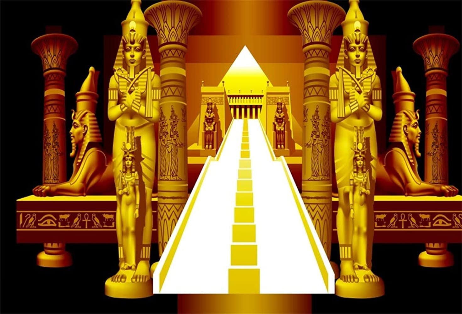 Yeele 6x4ft Golden Ancient Egyptian Photography Background Vinyl Pharaoh Ancient Sphinx Abstract Pyramid Stairway Photo Backdrops Egypt Queen Portrait Religion History Culture Photo Studio Props