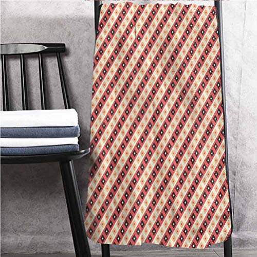 ScottDecor Geometric Fantastic Towels Soft, Absorbent Bath Sheets Diamond Line Ornament 30' W x 60' L