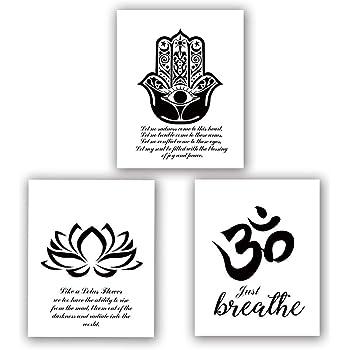 Amazon Com Yoga Art Print Set Of 3 8 X10 Lotus Flower Prints Om Symbol Prints Inspirational Zen Wall Art Black And White Art Mehndi Yoga Artwork No Frame Posters Prints