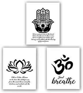 "Homdeco Yoga Art Print Set of 3 (8""X10""Lotus Flower Prints, Om Symbol Prints, Inspirational Zen Wall Art, Black and White Art Mehndi Yoga Artwork, No Frame"