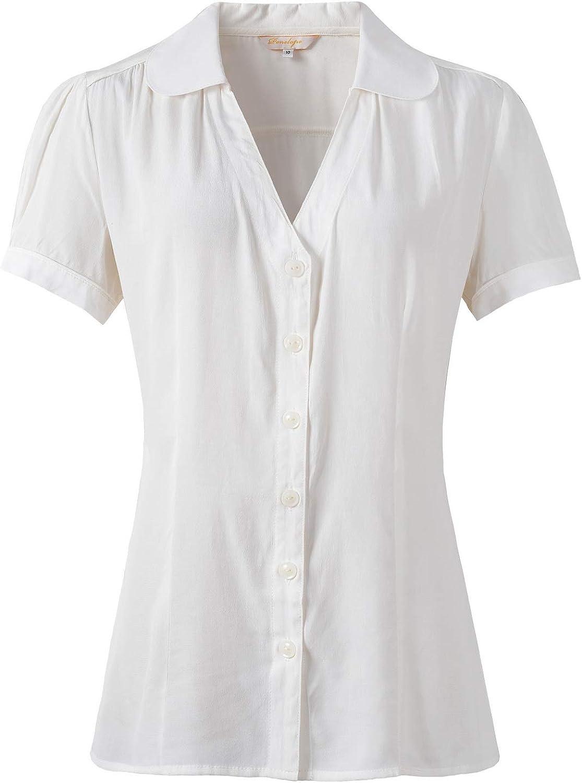 Womens Peter Pan Collar Blouse 1940s Pin Up Short Sleeve Shirt Landgirl Tops