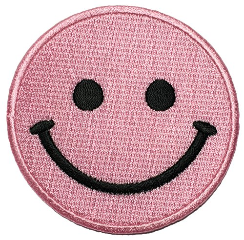 Papapatch Happy Face Smile Fun Hippie Retro Embroidered Sew Iron on Patch - Pink (IRON-SMILE-PK)
