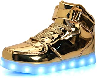Ausom Kids Boys Girls High Top USB Charging LED Light Up Sport Shoes Flashing Fashion Sneakers Ankel Boots