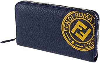 Fendi Fiend Blue Leather Zip Around Long Wallet 7M0210 A4NQ