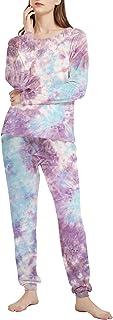 AIRIKE Women's Tie Dye Pajamas Set Long Sleeve Loungewear Two Piece Sleepwear Slim Fit Pj Set