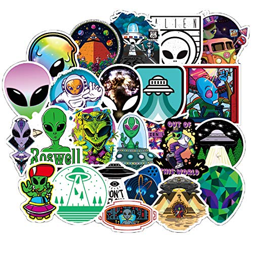 50 Pcs Alien Stickers UFO Decals for Water Bottle Hydro Flask Laptop Luggage Car Bike Bicycle Waterproof Vinyl ET Space Stickers Pack