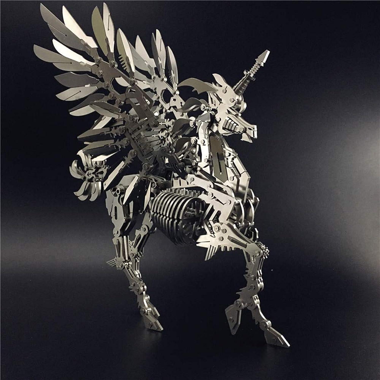 echa un vistazo a los más baratos MQKZ 3DMetal 3DMetal 3DMetal Modelo de Montaje Unicorn OverTallad Puzzle Kit Creativo Regalos Hechos a Mano Plata + Herramienta A One tamaño  hasta un 50% de descuento
