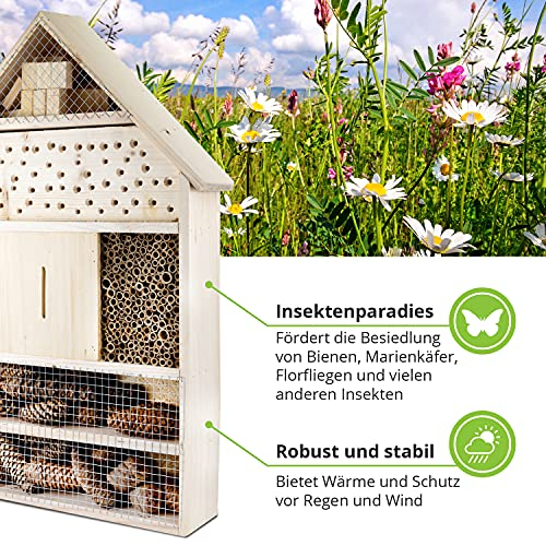 GARTENETAGE Insektenhotel XXL/ Naturbelassenes, massives Insektenhaus & Bienenhotel/ Insektenhotel zum Aufstellen mit Pfählen/ Marienkäferhaus, Schmetterlingshaus/ Nisthilfe & Artenschutz
